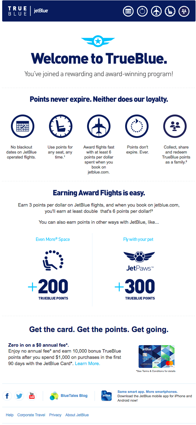 Jet Blue – Automated Welcome Email – Loyalty Members