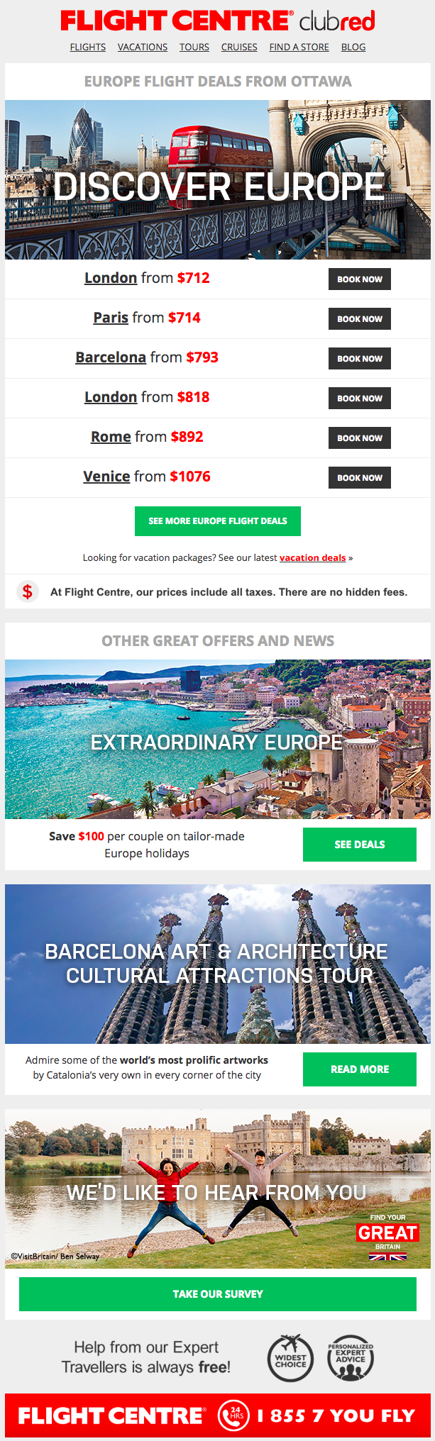Flight Centre – Automated Offer Email – Browser History