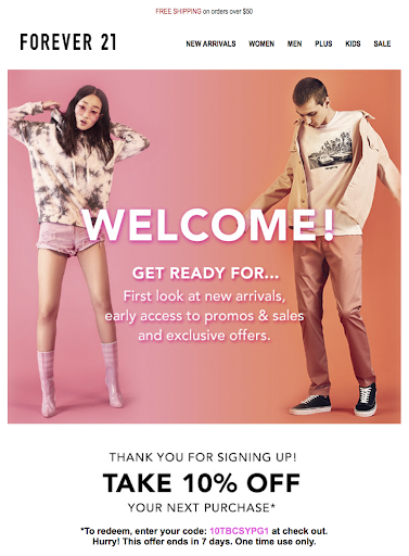 Forever 21 messaging example