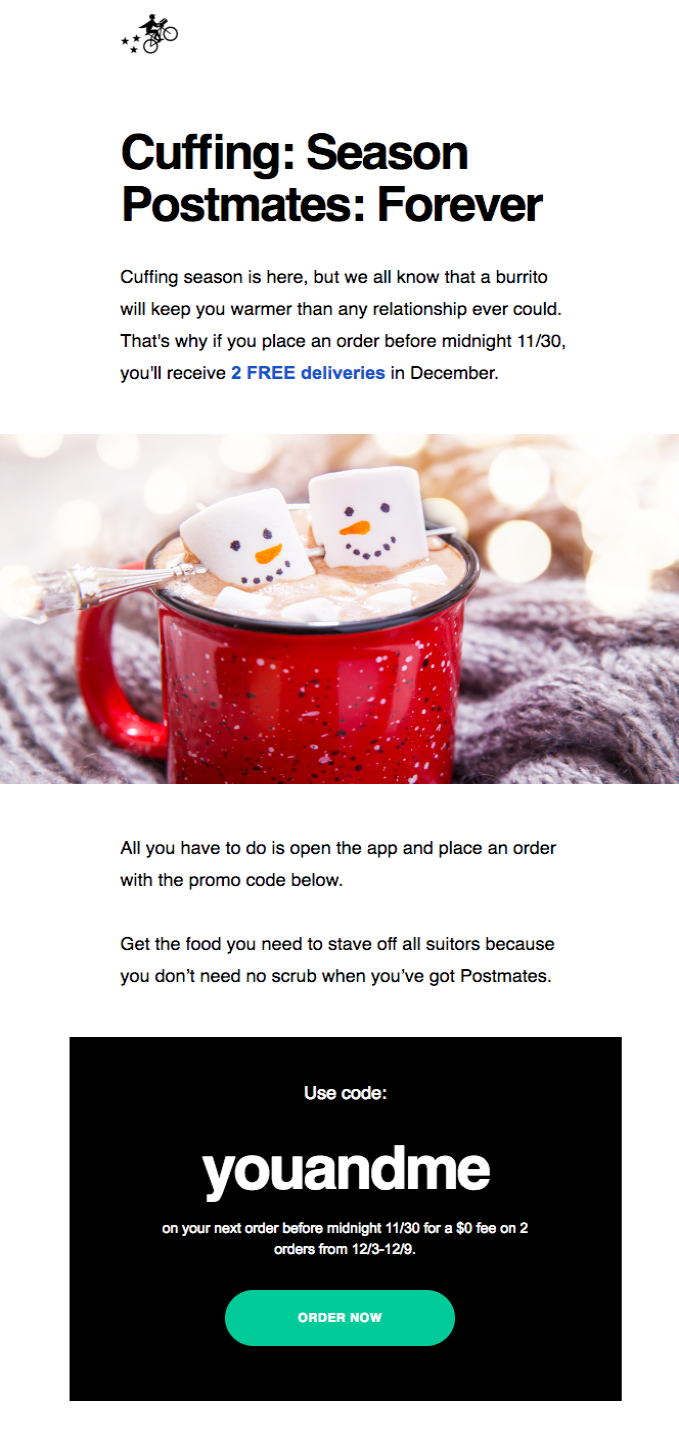 holiday food delivery email example