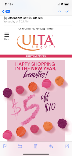 Ulta personalized email example