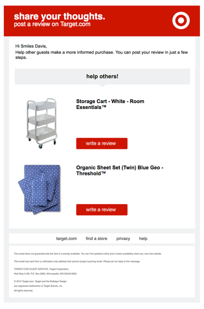 Target personalization email example