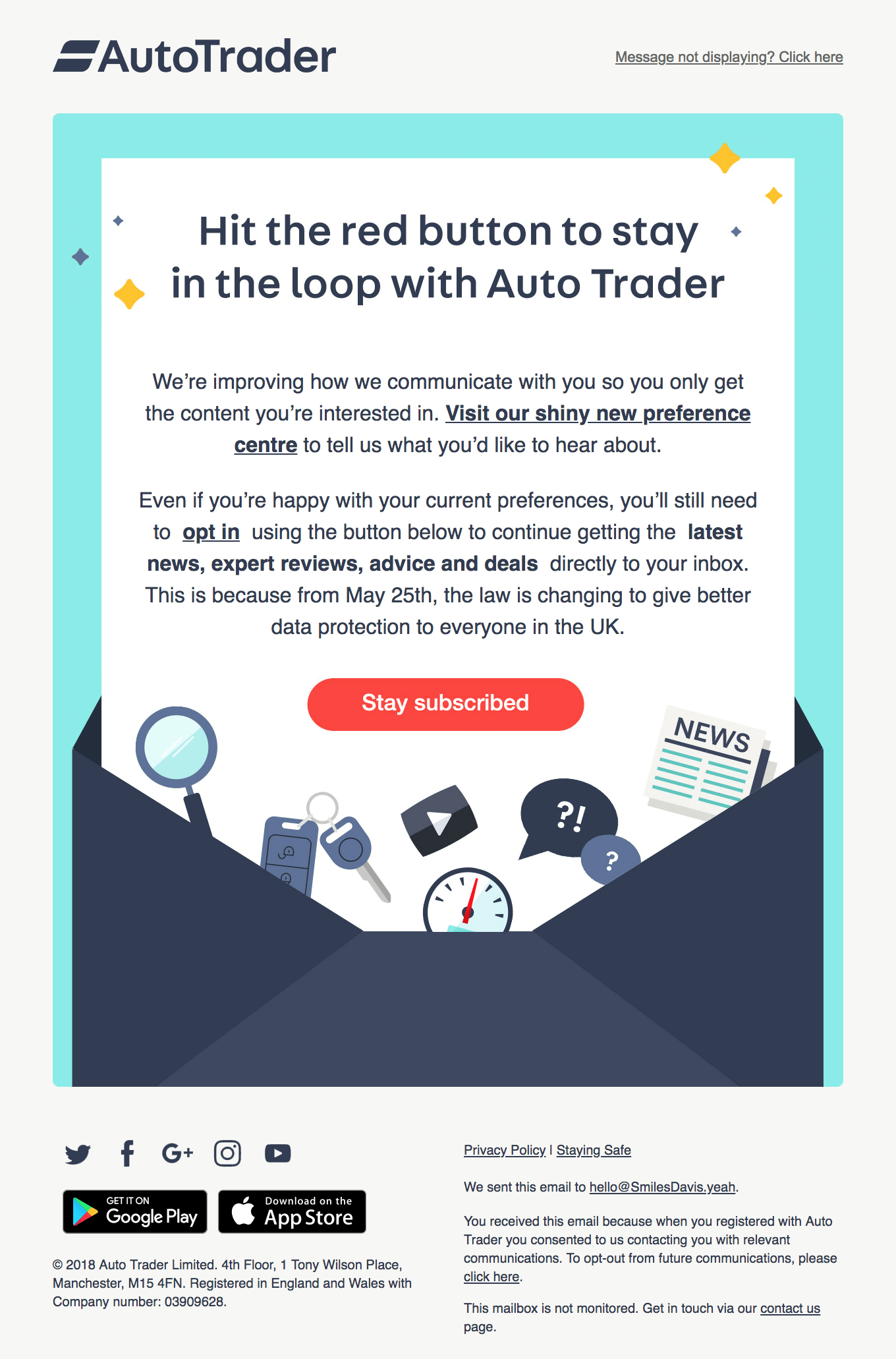 AutoTrader opt-in email example