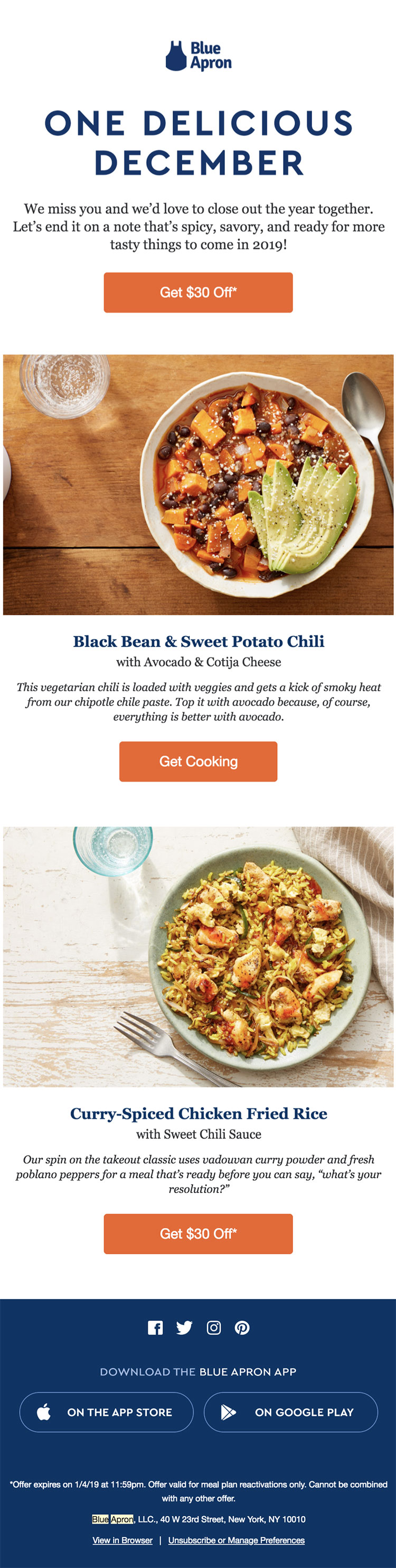 Blue Apron re-engagement email