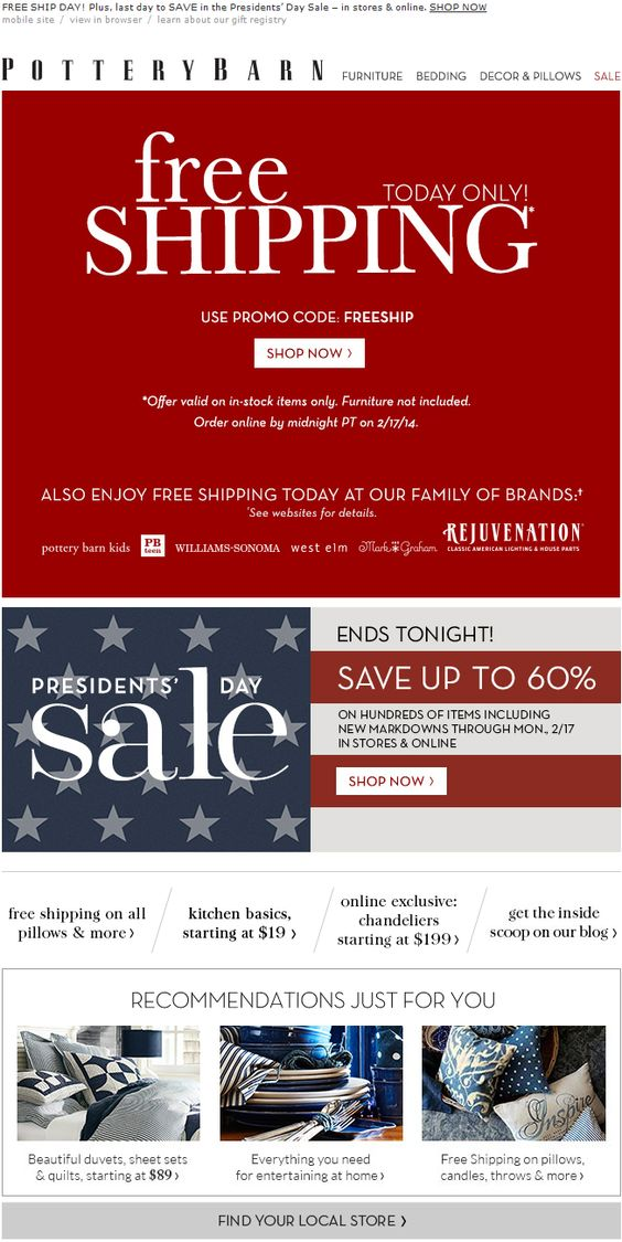 Pottery Barn coupon emails