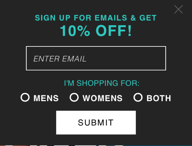 Email sign up page