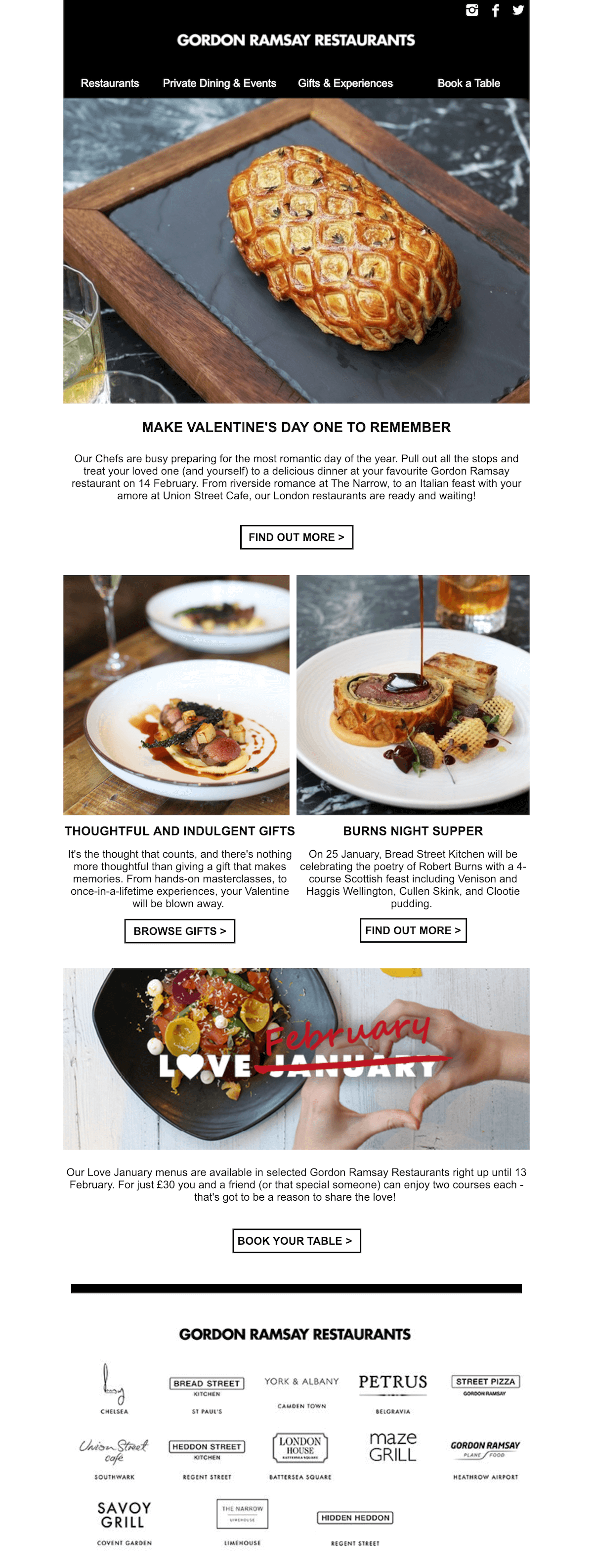 Gordon Ramsay Restaurants Valentine's Day Emaill