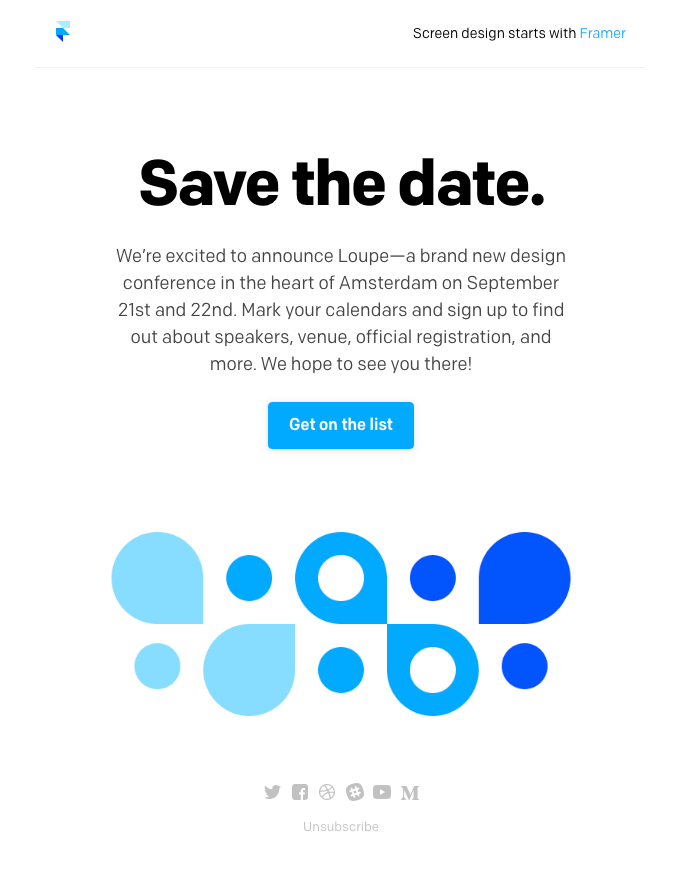 Email from Framer really works to start building a sense of intrigue around the event.