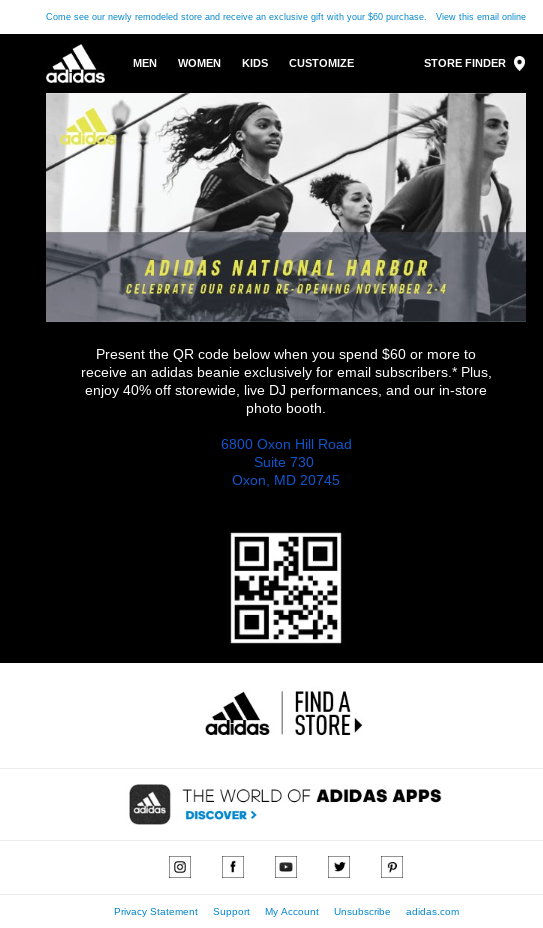 This email from Adidas is personalized based on where the lead signed up. It invites her to attend a grand opening event.