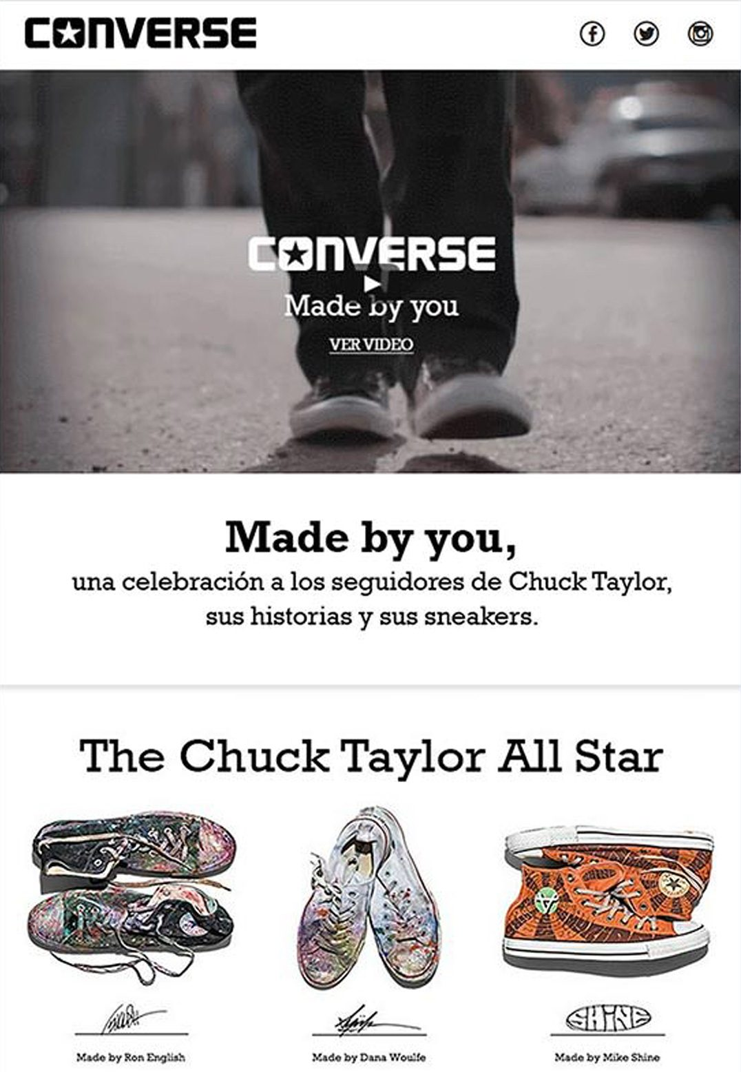 Here's an example from Converse. Their email newsletters include video—and it's the first thing that jumps out at you.