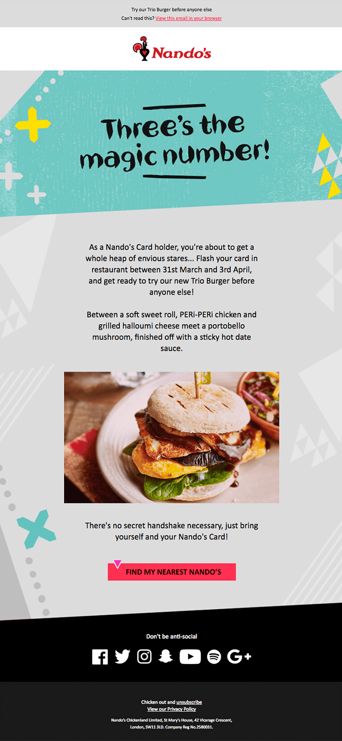 Here's an example from Nandos. In this email, you can see that by sending out emails promoting deals, the brand is encouraging more customers to come in and buy.