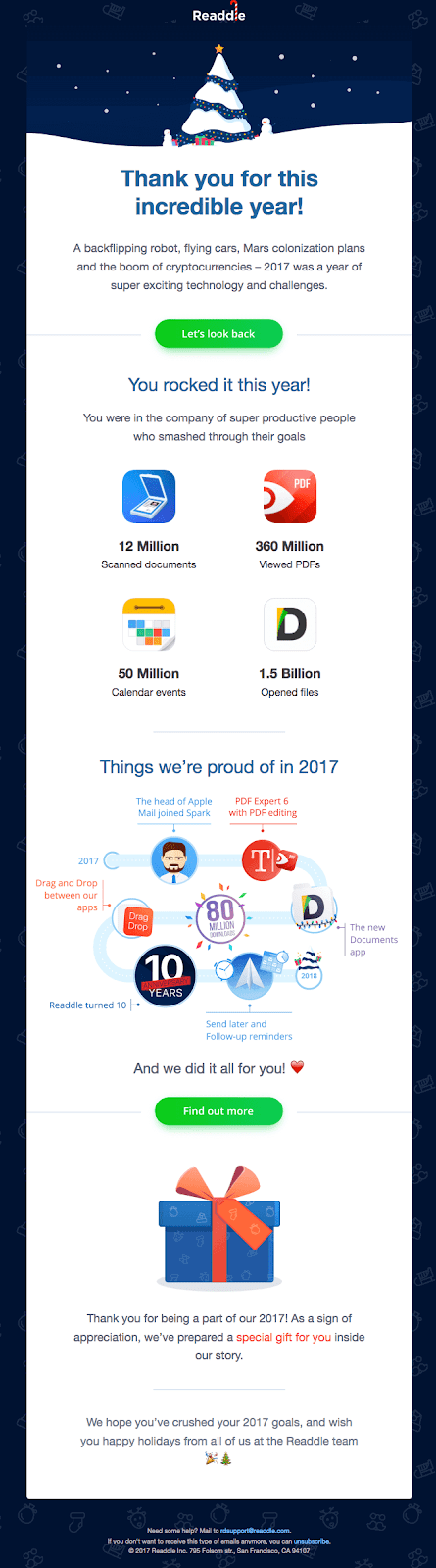 Readdle takes it a step further by sending their leads a yearly retrospective email, thanking them for being a part of the company's success over the past year.