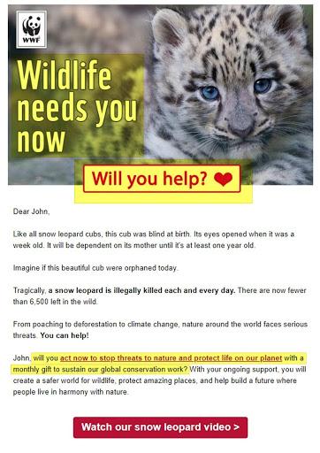 nonprofit world wildlife email donation request