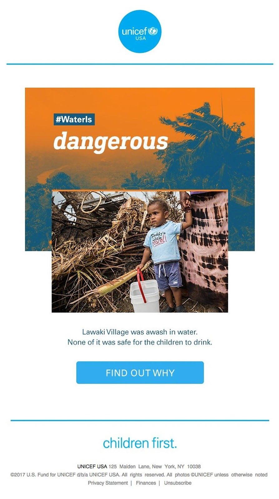 UNICEF's on-point brand consistency email features a minimalist template and blue/orange brand colors.