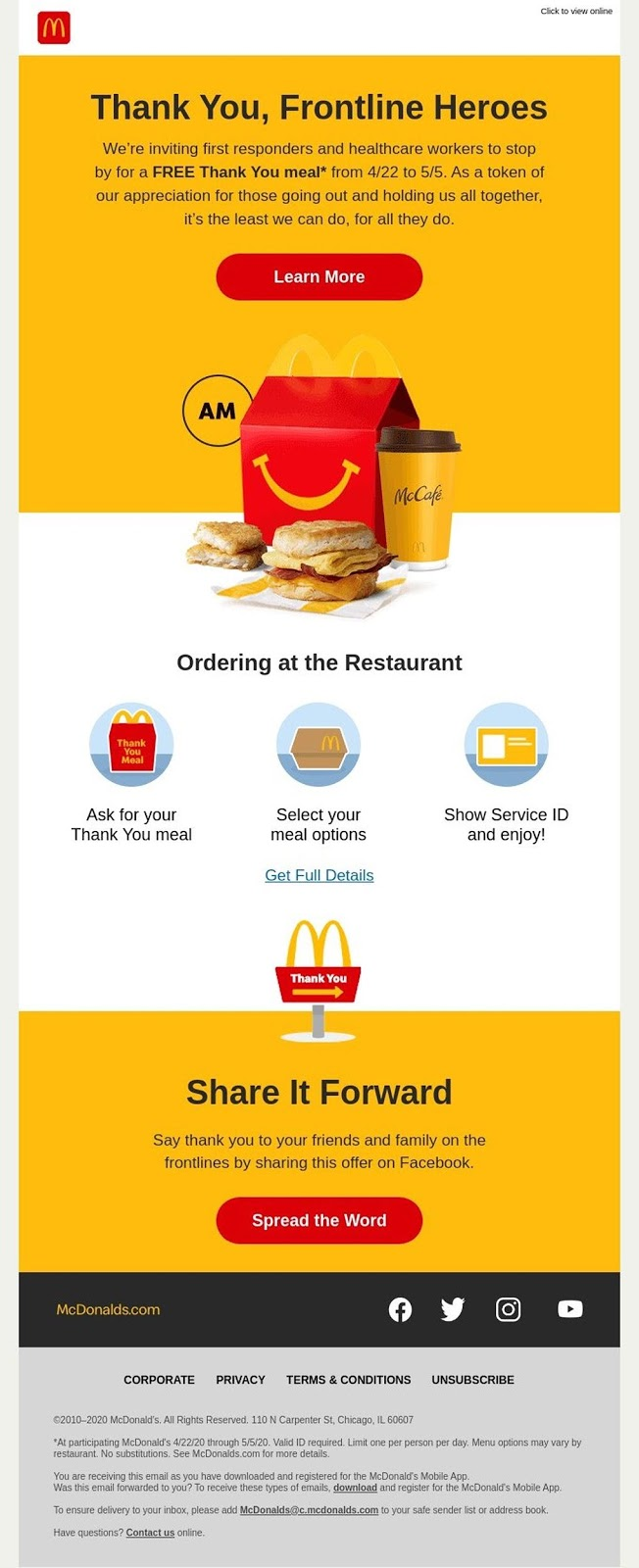 McDonalds' email campaign thanks frontline workers and stays true to its brand with consistent golden arches messaging.