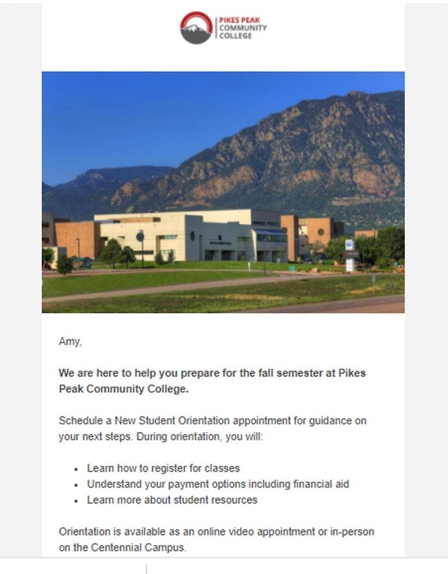 Strategic use of photos in email campaigns enhances text email for higher education marketing.