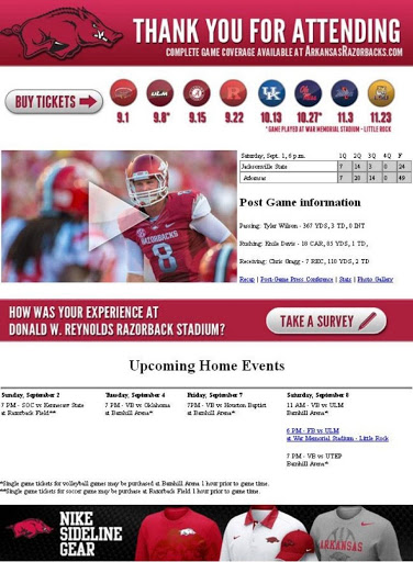 Use CTAs in your emails to direct subscribers toward the action you want them to take, like this email The University of Arkansas athletics department sent.
