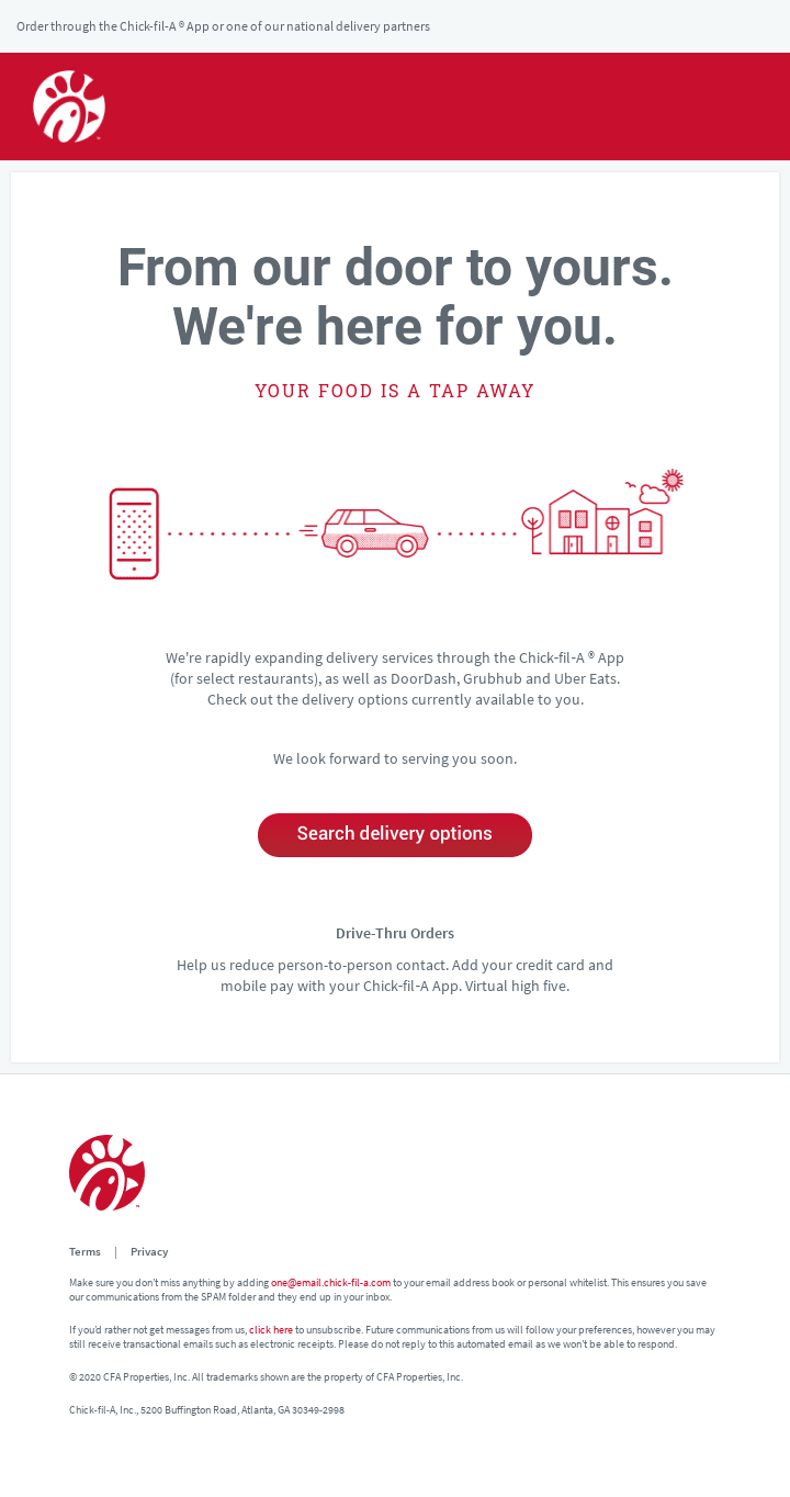 Chick-fil-A delivery confirmation email example