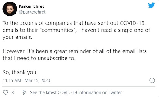 flood of covid-19 emails sparks twitter response