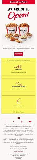 KFC restaurant open email announcement example