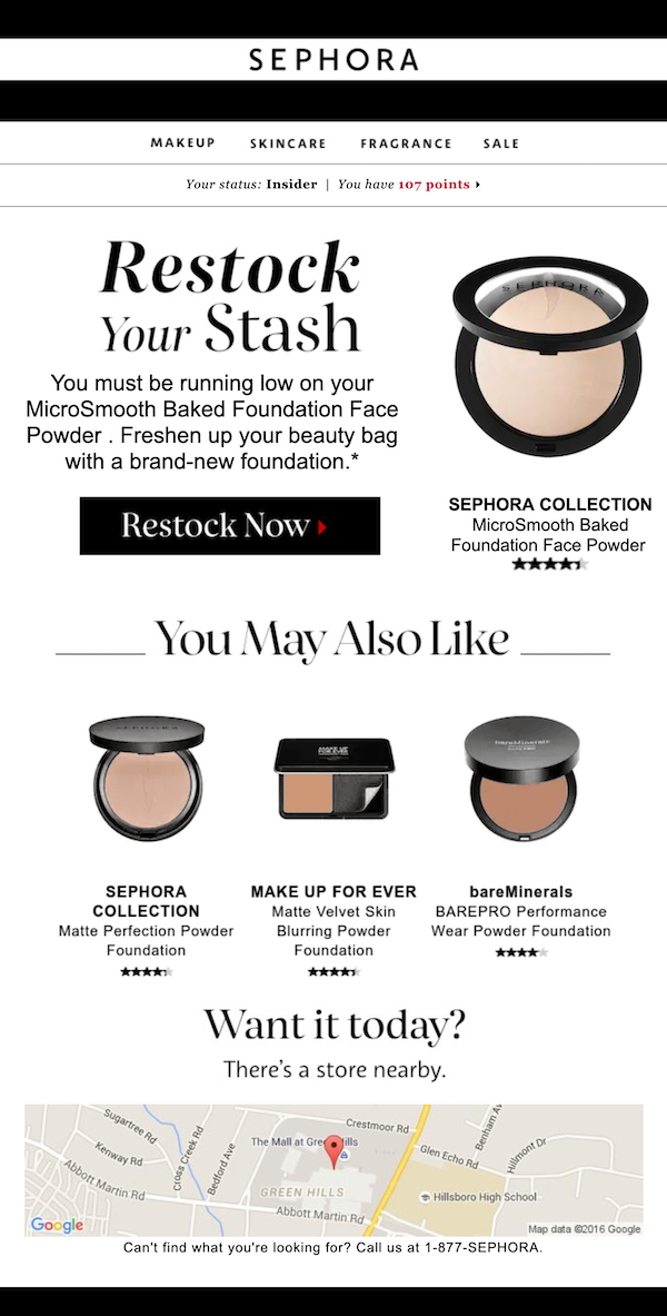 sephora-collection-newsletter: Sephora sends a 'restock your stash' email connecting their brand on a personal level.