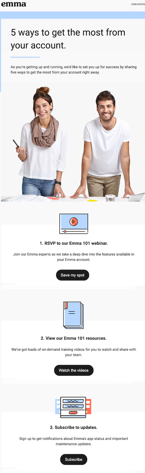 content-based-email-example: Here's an example of Emma's content-based automated email.