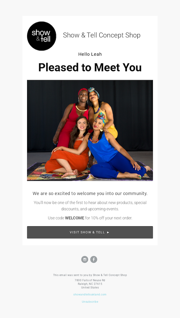 Show and Tell email