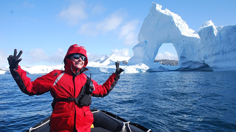 Elly MacDonald teaches yoga and also guides Zodiac cruises and shore landings.