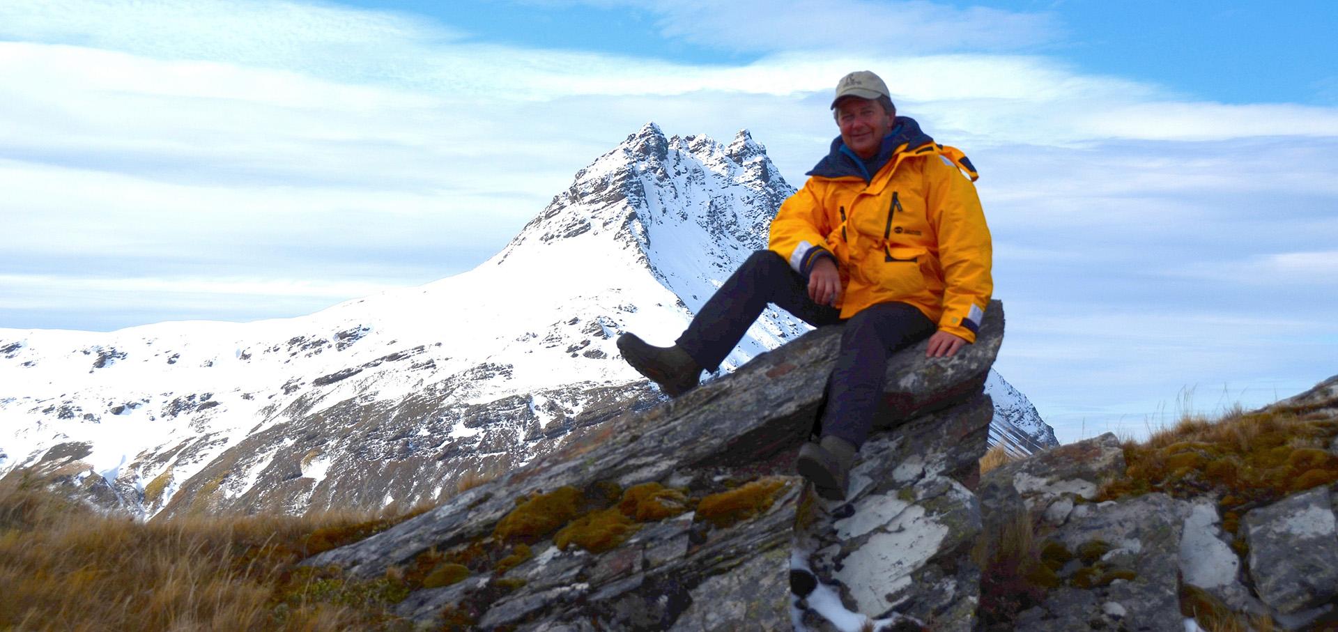 Quark passenger John Morrison is on top of the world in Antarctica.