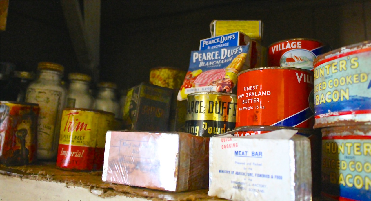 Historic food supplies at Port Lockroy, Antarctica.
