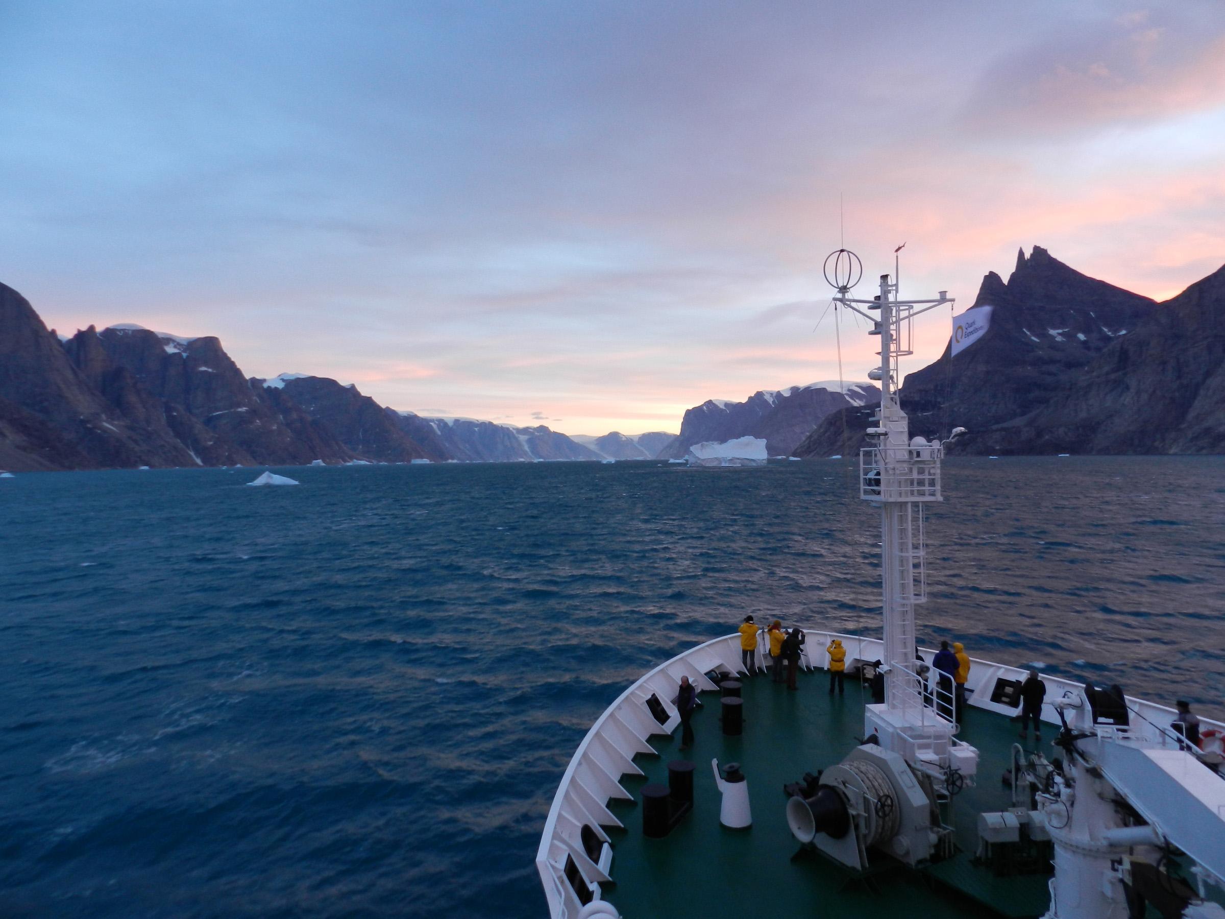 Quark Passengers aboard ship near Scoresbysund, Greenland