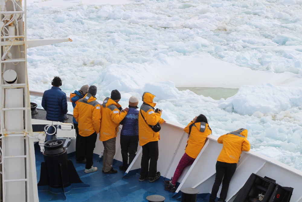 Passengers watch on deck as Ocean Diamond powers its way through Antarctic sea ice