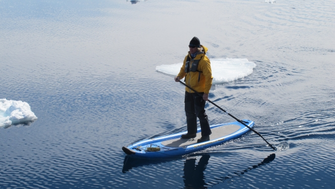 Stand-up paddleboarding in Antarctica