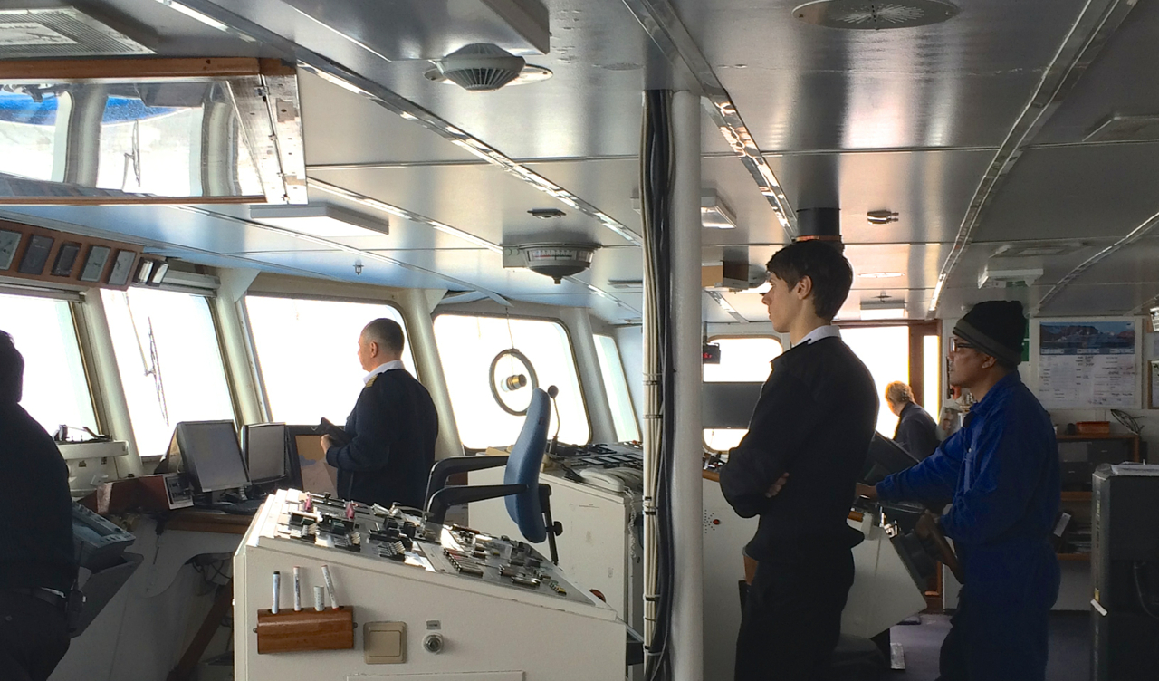 The Drake Passage crossing is a great time to take advantage of Quark's Open Bridge policy and see the Captain and his crew in action. You'll often find an Expedition Team member there, as well, watching out for whales or unique birds to point out to passengers.
