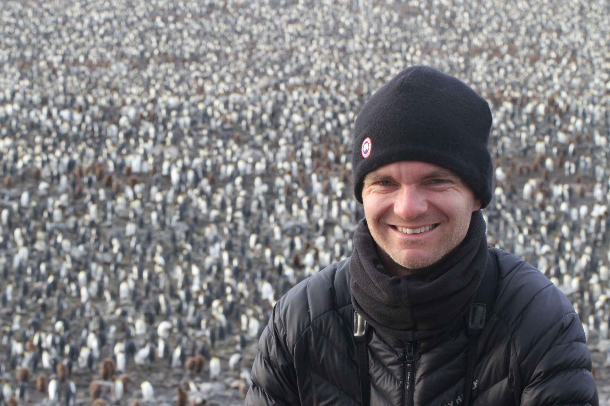 Ornithologist Noah Strycker at a King Penguin colony in South Georgia. Photo: Noah Strycker