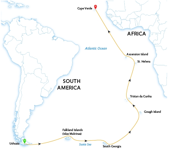 Passengers on board the South Georgia to Cape Verde expedition will explore some of the world's most remote Atlantic islands, from South Georgia and the Falkland Islands to the Tristan da Cunha and Ascension Islands