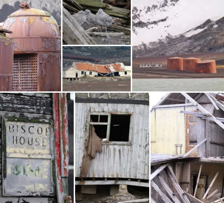 Relics and ruins dot the landscape at Deception Island, Antarctica.