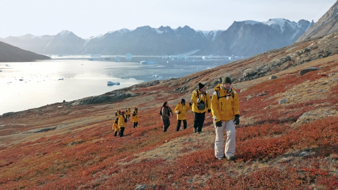 Passengers hike the fertile Arctic tundra on a gentle incline and enjoy the views of Spitsbergen on their way to the top.