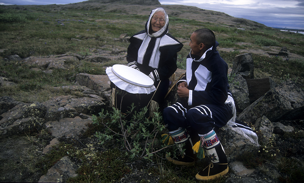An Inuit elder and a community member on Baffin Island, Canada