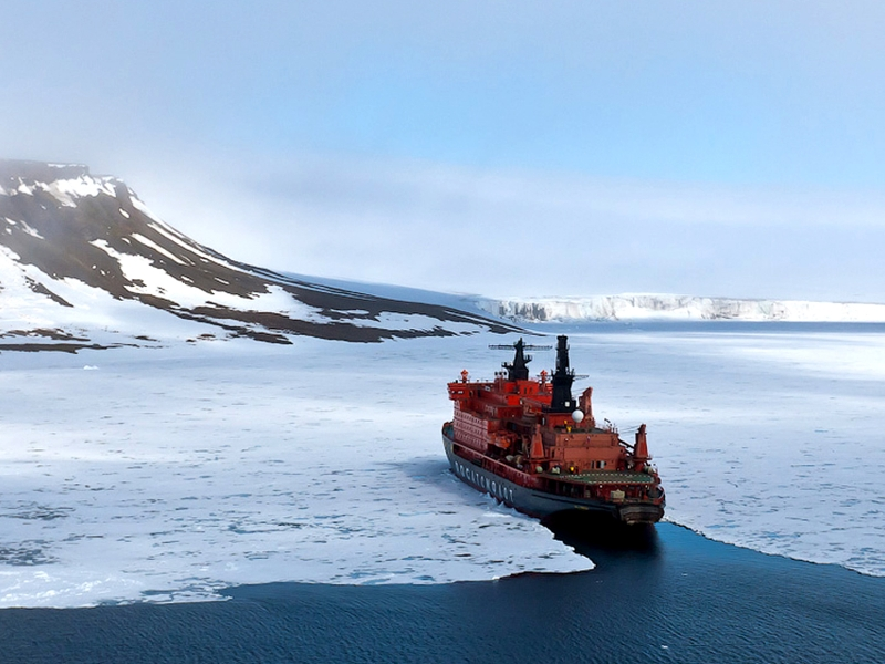 After a charter flight from Helsinki, Finland, passengers depart Murmansk, Russia, for the North Pole aboard 50 Years of Victory, the world's most powerful nuclear icebreaker
