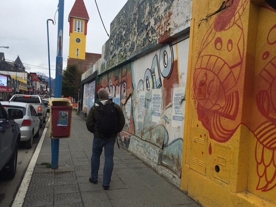 Exploring Ushuaia pre-embarkation; surveying the colorful street art on San Martin.