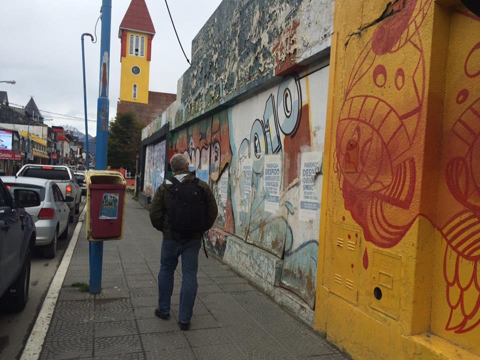 Exploring Ushuaia pre-embarkation; surveying the colorful street art on San Martin.