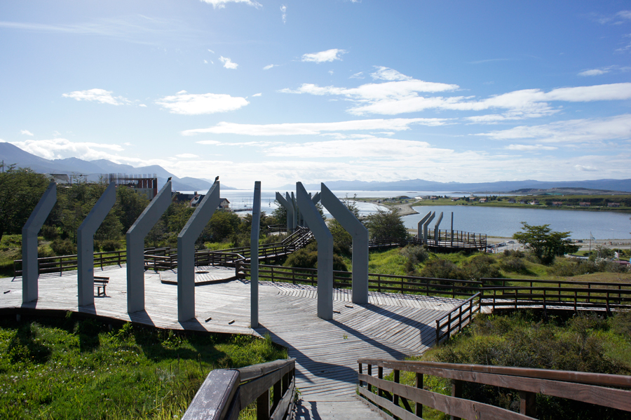 Wooden stairs and viewing platforms every few blocks guide you down the hills of Ushuaia to explore the port area.