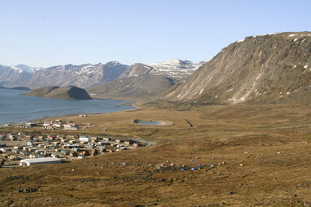 Looking down over the colorful Arctic summer tundra at the town of Pangnirtung.  Photo: Lindsay Nicole Terry