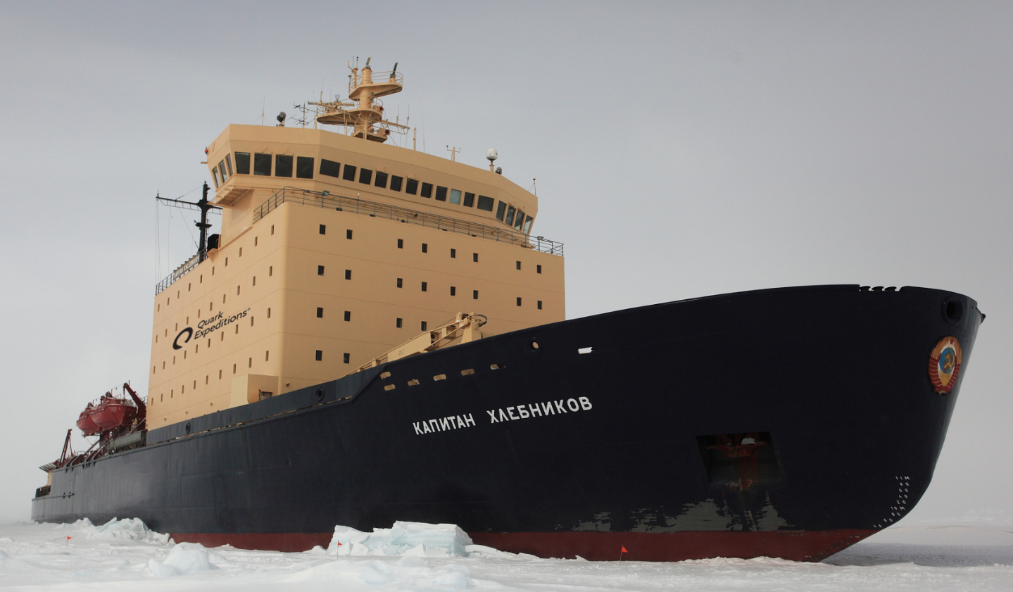 Kapitan Khlebnikov parked off the pack ice at Snow Hill Island