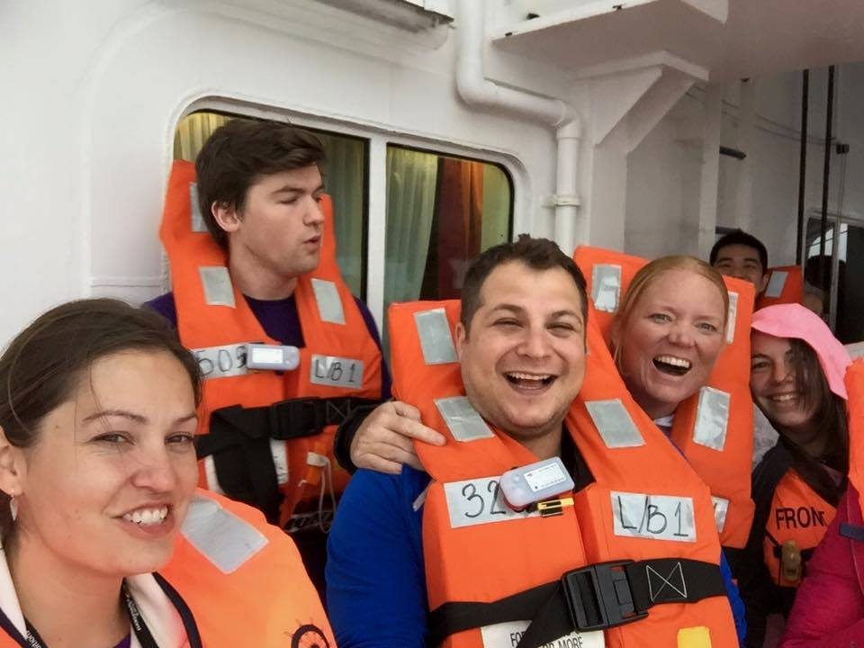Enjoying our safety drill after just a few hours on the Ocean Diamond. Left to right: Amanda, Ben, Max, and JennieRae.