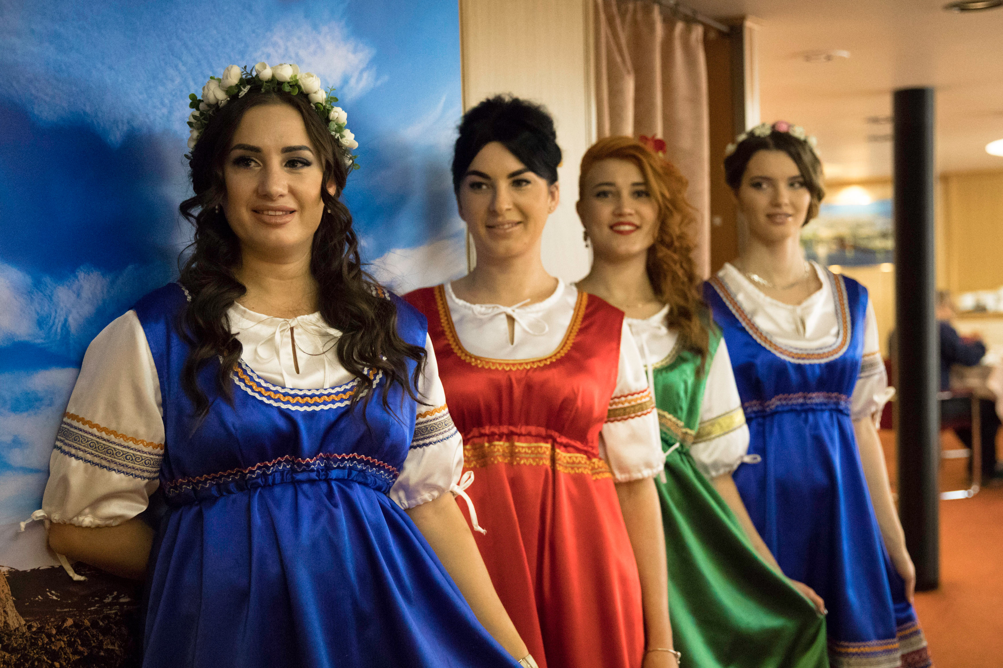 Hospitality staff dress up for the Russian Dinner. Photo: Dani Plumb