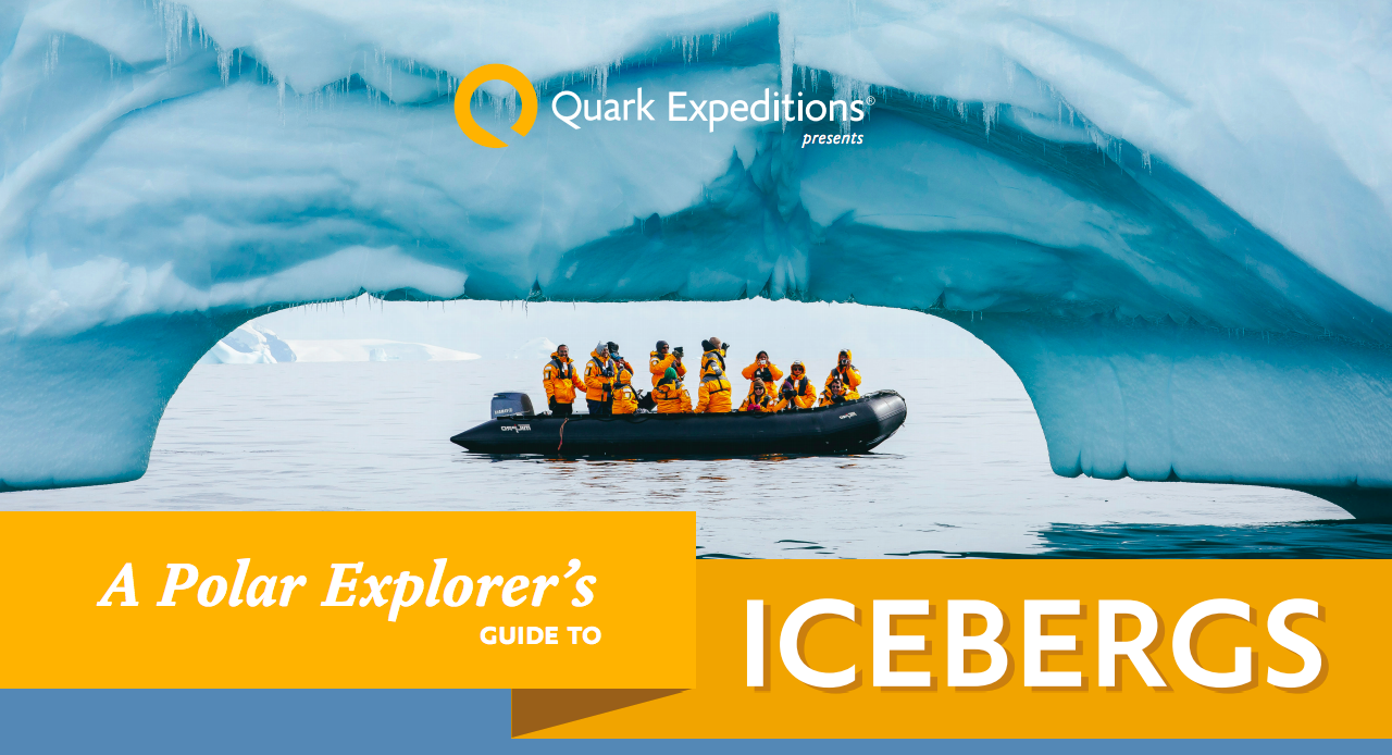 Quark passengers are pictured below a giant iceberg in Antarctica in this image from A Polar Explorer's Guide to Icebergs.