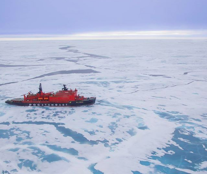 50 Years of Victory en route to the North Pole, as captured by photographer and Quark Expeditions passenger Timo Kohler from the onboard sightseeing helicopter.