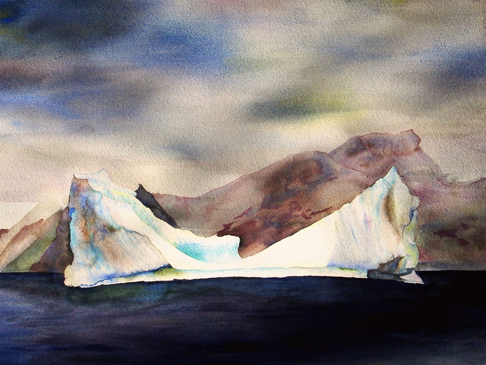"Iceberg From Our Zodiac, Antarctica No. 2 - 24 x 36"" watercolor by Lisa Goren, 2005."